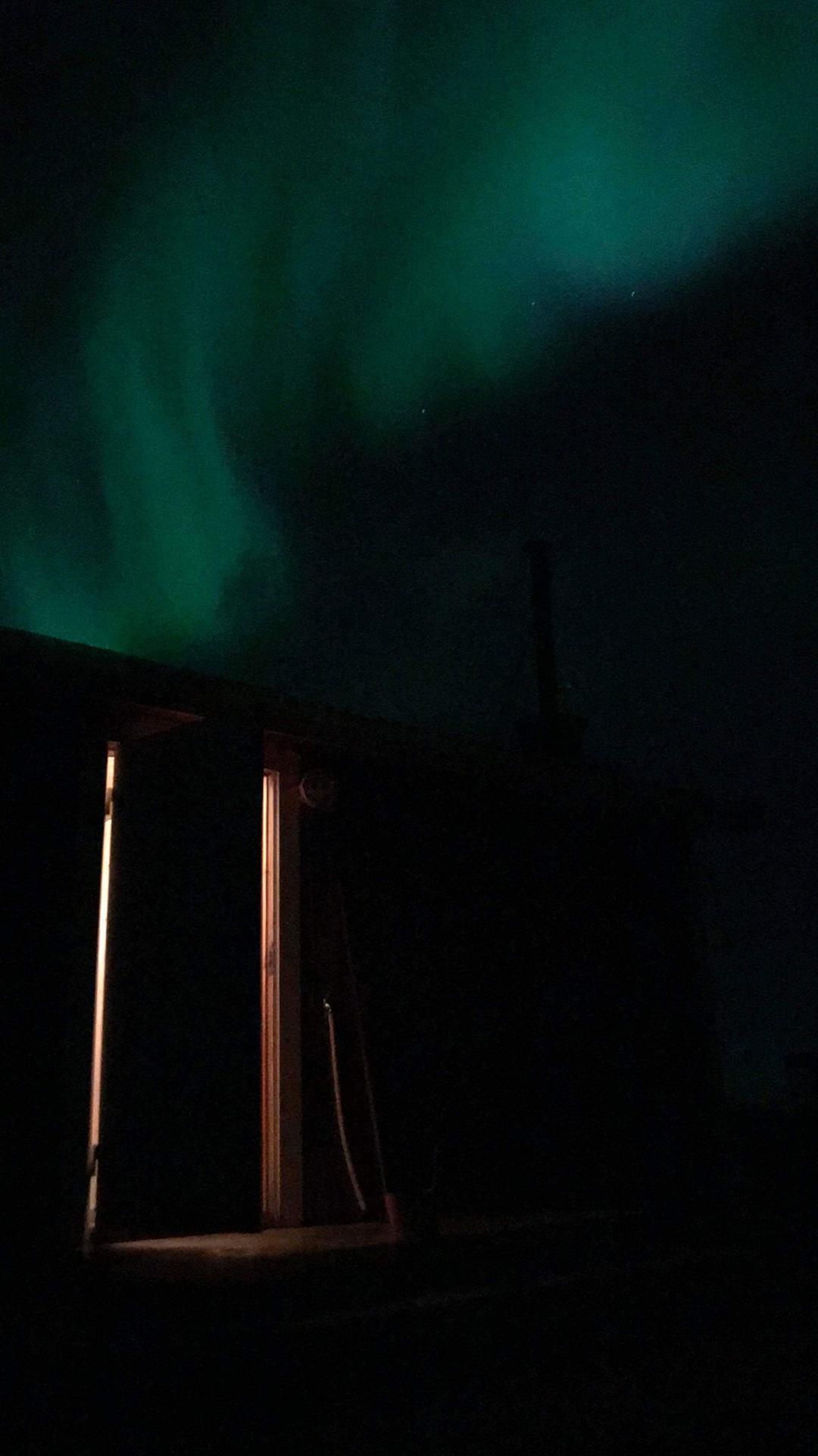 Sauna und Wetterleuchten in Schweden