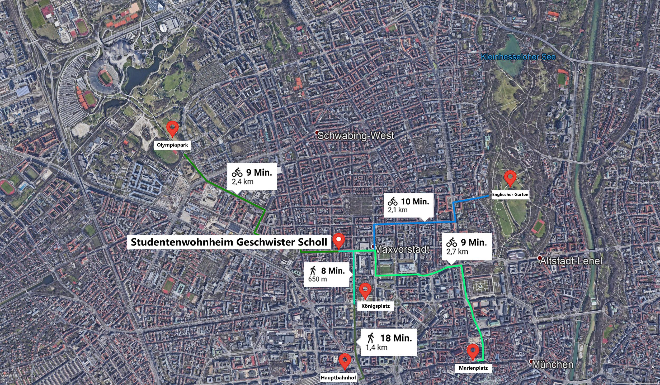 Routen vom Schollheim zu bekannten münchner Orten